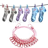 Windproof Travel Elastic Clotheslines, Retractable & Portable Laundry Line w/ Anti-Skid 12 Pcs Clothespins Clips for Backyard Hotel Balcony Outdoor Indoor Use Camping Clothes Drying Line Rope (pink)