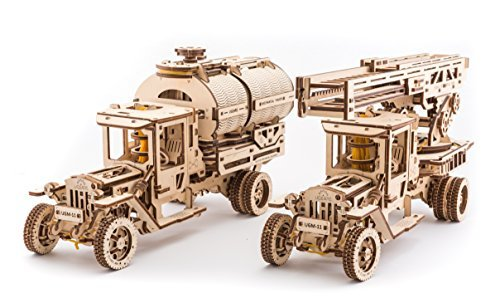 UGEARS Bundle 2 in 1 Mechanical Truck UGM 11+ Set of additions for Truck UGM 11 (Tanker, Rescue Ladder and Trailer Chassis) 3D Puzzle for Kids and Adults