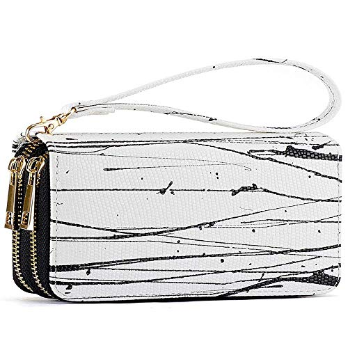 (Double Zipper Long Clutch Wallet Cellphone Wallet for Women with Hand Strap for Card, Cash, Coin, Bill (White Graffiti))