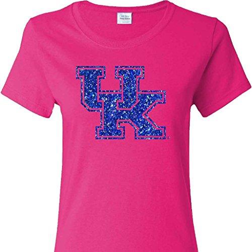 (UK Glitter Interlock on a Ladies Cut Pink Short Sleeve T Shirt)