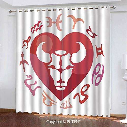 Satin Grommet Window Curtains Drapes [ Taurus,Zodiac Sign Bull Personality Western Astrology Human Character Mystic Print Decorative,Dark Coral White ] Window Curtain for Living Room Bedroom Dorm Room
