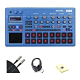 Korg ELECTRIBE Electribe Synth with Samson SR350 Open-Ear Headphones, 2 Conquest Sound 10' Midi Cable and Custom Designed Instrument Cloth (Blue)
