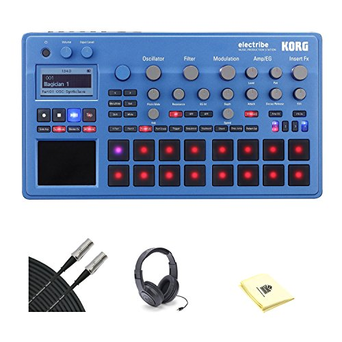 Korg ELECTRIBE Electribe Synth with Samson SR350 Open-Ear Headphones, 2 Conquest Sound 10' Midi Cable and Custom Designed Instrument Cloth (Blue) by Korg