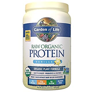 Garden of Life Raw Organic Protein Vanilla Powder, 20 Servings - Certified Vegan, Gluten Free, Organic, Non-GMO, Plant Based Sugar Free Protein Shake with Probiotics & Enzymes, 4g BCAAs, 22g Protein