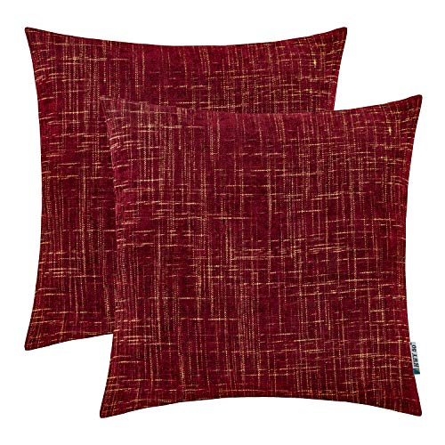 HWY 50 Chenille Soft Comfortable Decorative Throw Pillows Covers Set Cushion Cases for Couch Sofa Bed 20 x 20 inch Wine Red Burgundy Pack of 2