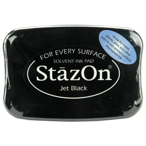 Stazon Solvent Stamp Cleaner Ink - Tsukineko SZ000031 Full-Size StazOn Multi-Surface Inkpad, Jet Black