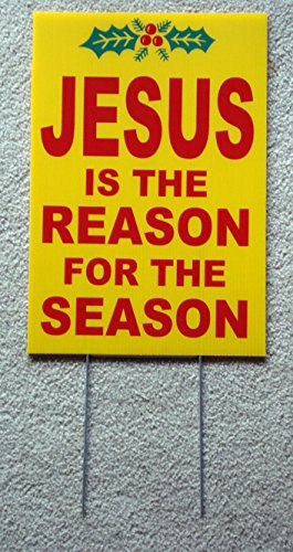 Christmas Yard Signs - 1 Pc Notable Unique Jesus The Reason for Season Yard Sign Waterproof Christmas Decor Outdoor Declare Banner Village Party Ornaments Vintage Door Merry Ornament Wall Hanging Size 12