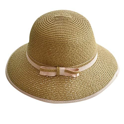 Hats Cap Women Ladies Summer Wide Brim Straw Hat Floppy Derby Beach Sun Foldable Cap Lot]()