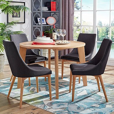 Verona Home Hudson Mid-Century 5-Piece Round Dining Set in Dark Grey l Perfect for your Casual Dining Area