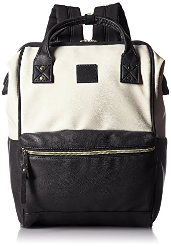 Anello Synthetic Leather Backpack Large AT-B1211 (Ivory x Black)