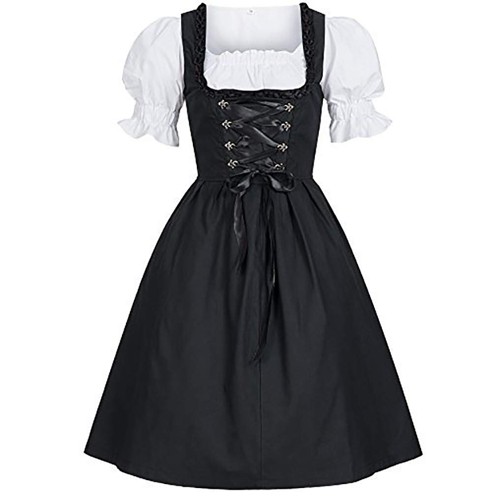 Pevor Womens Gothic Anime Cosplay Lolita French Maid Dress Halloween Fancy Dress Costumes Outfit with Bowknot 4XL