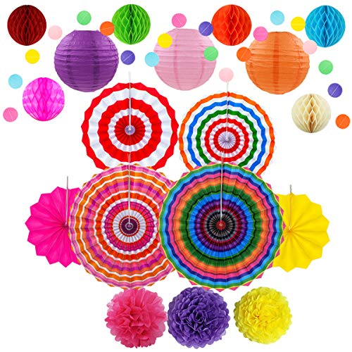 Fiesta Party Decorations, Paper Fans, Pom Poms, Lantern and Rainbow Party Supplies for Birthdays, Cinco De Mayo, Festivals, Carnivals, Graduation by Storystore (20 PCS style2)