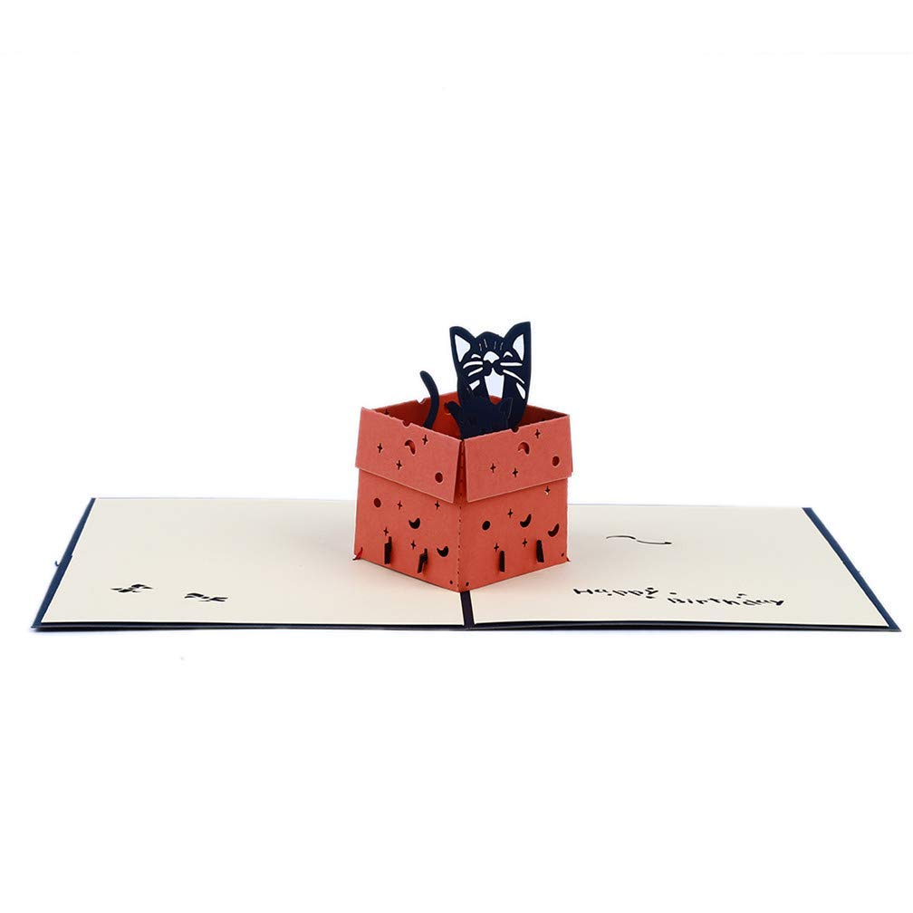 Tcplyn Premium Quality Greeting Cards Cat in The Box Model 3D Post Card for Kids Party Children Gifts,Blue