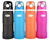 Kemier Collapsible Silicone Water Bottles-750ML,Medical Grade,BPA Free,FDA Approved.Can Roll Up,26oz,Leak Proof Foldable Sports & Outdoor Water Bottles