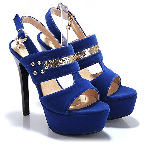 BalaMasa da donna Open toe fibbia solido tacchi alti sandali, Blu (Blue), 35