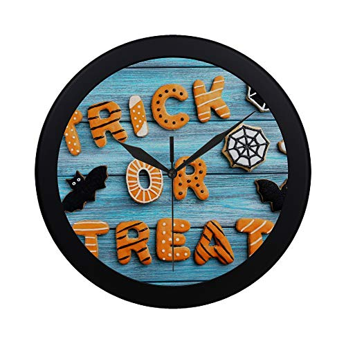 Modern Simple Fresh Halloween Gingerbread Cookies On Blue Wooden Pattern Wall Clock Indoor Non-ticking Silent Quartz Quiet Sweep Movement Wall Clcok For Office,bathroom,livingroom Decorative 9.65 Inch