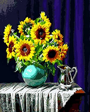 YEESAM ART New Release Paint by Number Kits for Adults Kids - Sunflower Vase 16x20 inch Linen Canvas without Wooden Frame