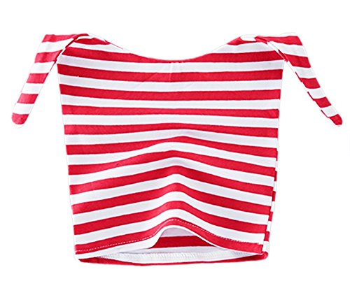 StylesILove Unisex-Baby Two Tone Polka Dots Stripes Cute Clown Hat 3-9 Months (Red Stripes)