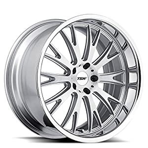 TSW MONACO 19x9.5 5/120 ET39 CB76.1 SILVER W/BRUSHED FACE & CHROME STAINLESS LIP LIP TD17