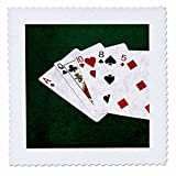 3dRose Alexis Photo-Art - Poker Hands - Poker Hands High Card, Ace to Five - 16x16 inch quilt square (qs_270577_6)