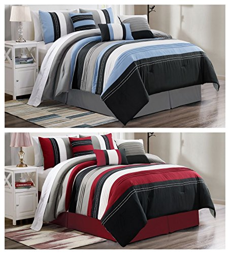 FS Fahm Blair 7-piece Modern Pleated Stripe Embroidered Comforter Set (Queen Size, Color Burgundy)