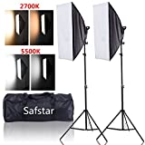 Safstar Photography Softbox LED Continuous Lighting Kit for Photo Video Studio 20''x27'' (Color Changeable)