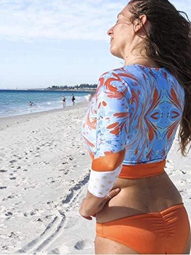 The Asteria Crop Top Surf Suit Surf Bikini Rash Guard Long Sleeves Sun Protection in Kaleidoscope