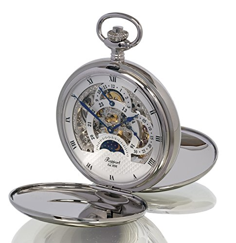 Rapport of London Silver Tone (Chrome) Dual Time Pocket Watch with 17 Jewel Movement
