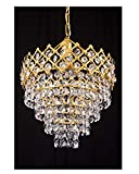 Prop It Up Precious Crystals, Round Shaped hanging Small 4/k-9 Crystals, LED Chandelier Ceiling Light Pendant, 10-inch Golden Finish