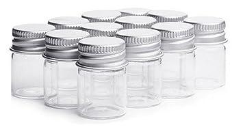 2f9c3ff009b8 12PCS 15ml Clear Empty Small Glass Storage Oil Vials Test Bottles With  Aluminum Screw Cap Sample...