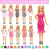 Barwa 22 Pcs Doll Clothes Outfit Accessories for Barbie Doll Include 10 Fashion Dresses & 10 Pairs of Shoes for Barbie Doll