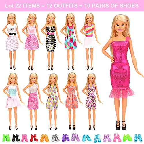 Barwa 22 Pcs Doll Clothes Outfit Accessories for 11.5 Inch Doll Include 10 Fashion Dresses & 10 Pairs of Shoes for 11.5 Inch Girl Doll Xmas Gift
