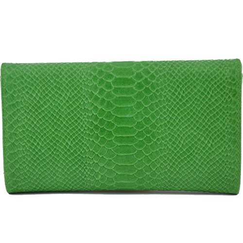 Pochette Donna In Vera Pelle Stampa Pitone Colore Verde - Pelletteria Toscana Made In Italy - Borsa Donna