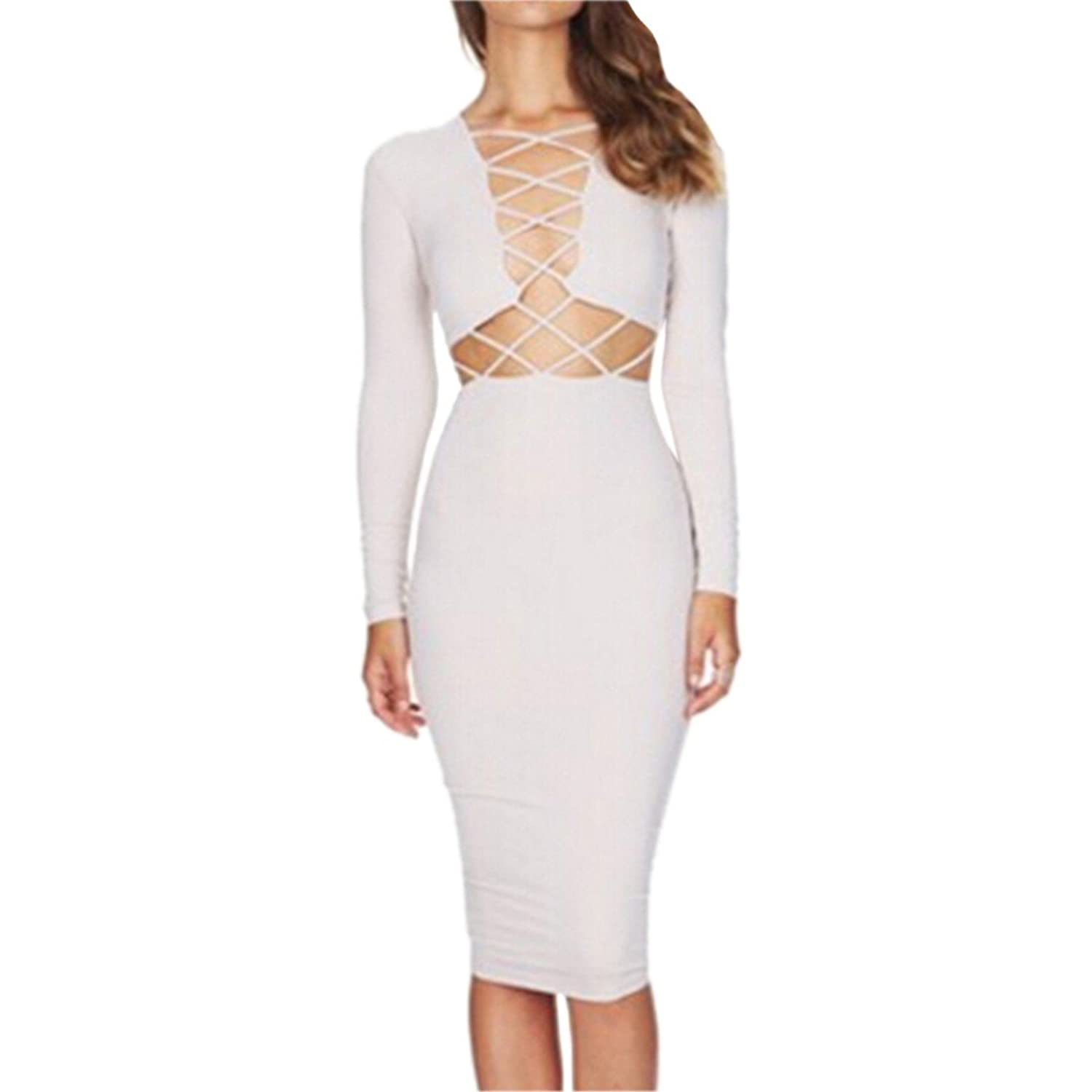 New Women Long Sleeve Hollow Lace Up Bodycon Slim Dress Cocktail Evening S-L