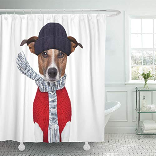 Emvency Shower Curtain White Cold Winter Dog Scarf Hat Wool Cool Shower Curtains Sets with Hooks 60 x 72 Inches Waterproof Polyester Fabric by Emvency