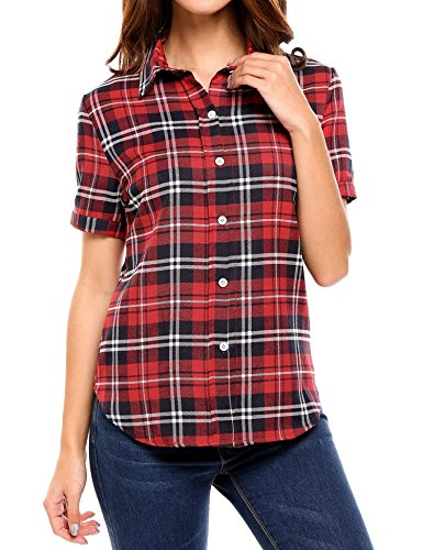 Elever Women Short Sleeve Classic Button Down Slim Fit Plaid Blouse Shirt