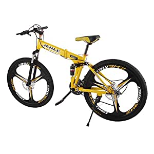 VEVOR Folding Bicycles 26 Inch Full Suspension Folding Mountain Bike 21 Speed Shimano Mg Alloy 3 Wheel Mountain Bike Downhill Bikes (3 wheels)