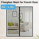 Upgraded Fiberglass Magnetic Screen Mesh for French Door [60