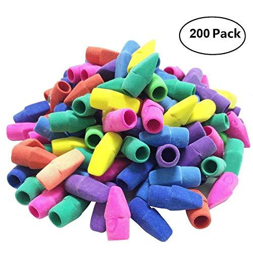 Pencil Top Eraser Caps Arrowhead Assorted Colors in Bulk Pack of 200