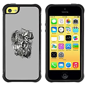 Fuerte Suave TPU GEL Caso Carcasa de Protección Funda para Apple Iphone 5C / Business Style pirate skull captain ship ahoy grey