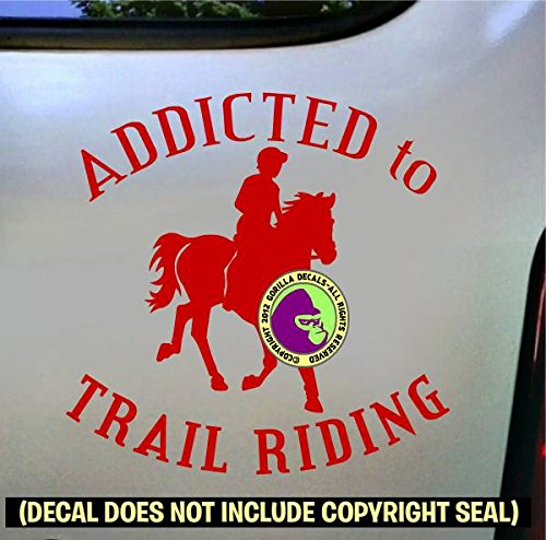 ADDICTED TO TRAIL RIDING Horse Rider Vinyl Decal Sticker D
