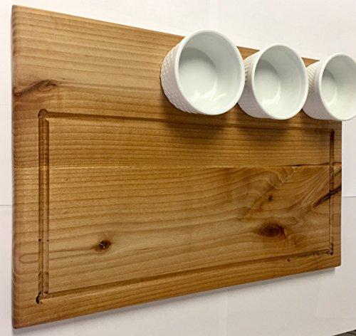 (Hardwood Cutting Board with 3 Porcelain Ramekins 100% Organic, Single Sided, and Double Sided (Single Sided))