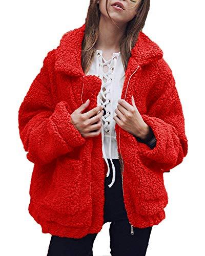 Inverno Capispalla Cerniera Giacche Strada Corto Di Rosso Di Donna Peluche ShallGood In Cappotti Modo Elegante Stile Caldo Giacca REwqUx4