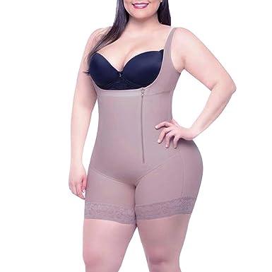0372de3f5ec AICONL Women's Full Body Girdle Seamless Open Bust Zipper Waist Cincher Open  Crotch Body Shaper Plus Size at Amazon Women's Clothing store:
