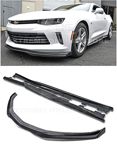 Rocker Panel End Cap - for 2016-2018 Chevrolet Camaro RS | EOS T6 Style Carbon Fiber Add On Front Bumper Lower Lip Splitter + Side End Caps Extension with Side Skirts Rocker Panels