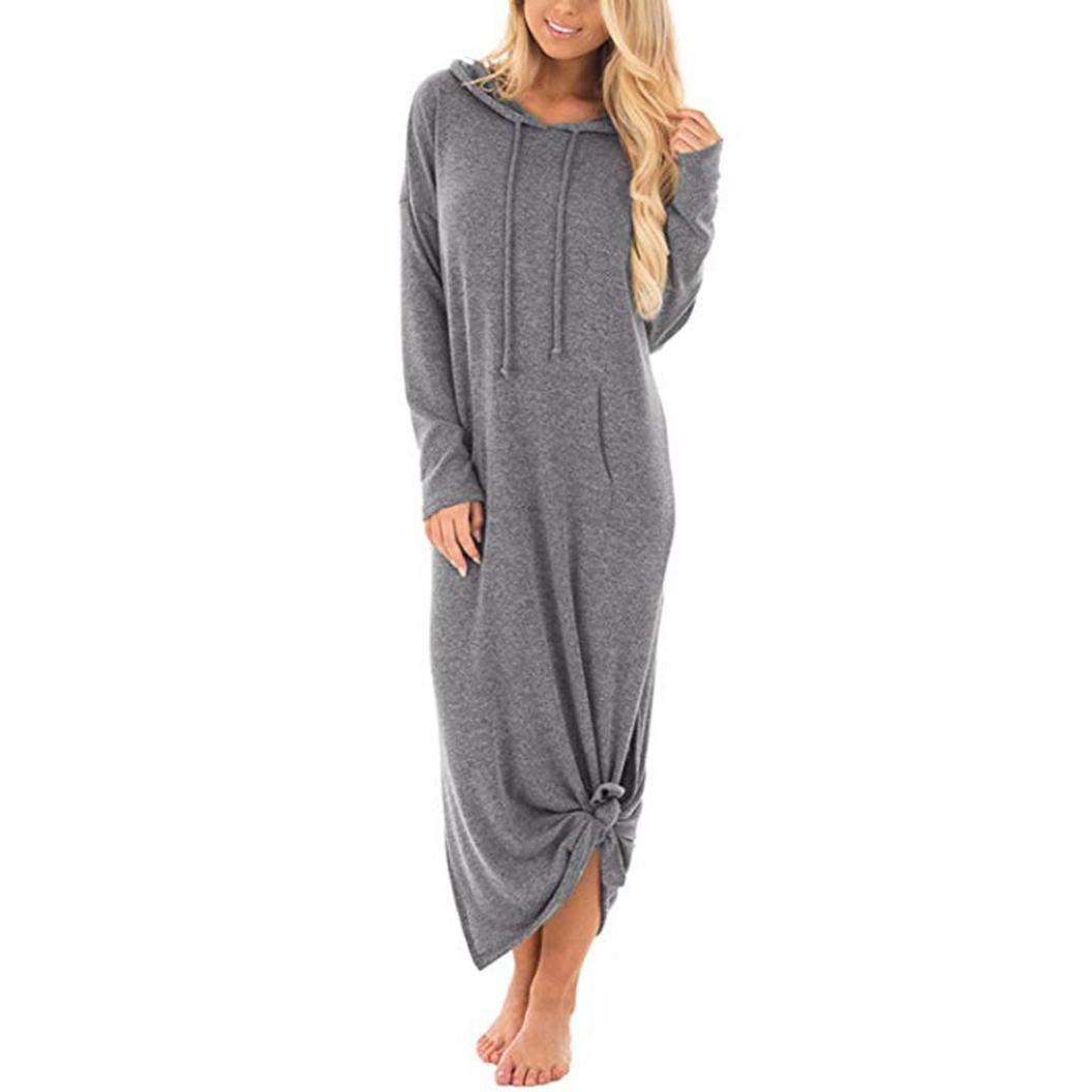 ❤️Chandails Robe Femme Pull Amlaiworld Femmes Robe Longue Maxi à Capuche Décontractée Robes de Poches Split Manches Longues Robe