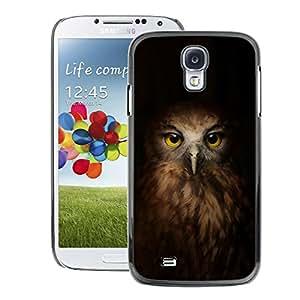 A-type Arte & diseño plástico duro Fundas Cover Cubre Hard Case Cover para Samsung Galaxy S4 (Brown Bird Eyes Peak Feathers)