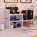 Storage rack Solid Wood Bookshelf Simple Table Rack Children Student Office Use Space Saving Telescopic Desktop Bookshelf (Color : White)