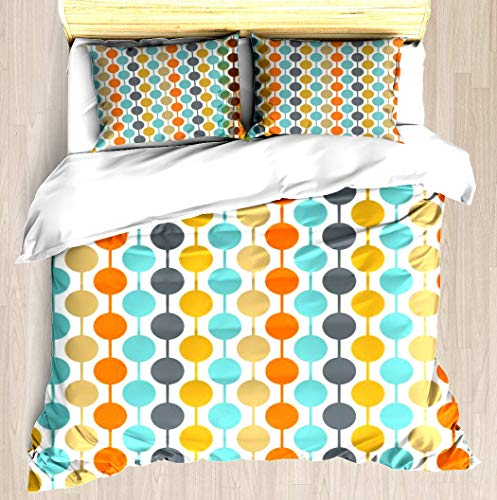 - VAMIX Retro Circles Mid Century Modern Background Duvet Cover Set Unique Printed Exclusive Designed Pattern Comforter Bedding Cover Pillow Shams 3 Piece Bed Duvet Cover King/Cal King