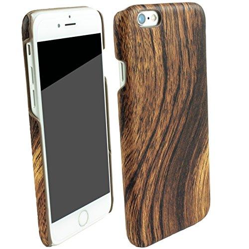 Iphone 6S plus Iphone 6 plus Holz Design Schutz Hülle Displayschutzfolie Kunststoff Cover Case Tasche Etui Bumper Wood Braun